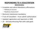 responding to a solicitation administrative