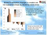 muted evaporation changes in models are not explained simply by declining wind stress