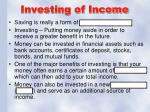 investing of income