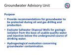 groundwater advisory unit