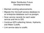 water distribution future development ideas