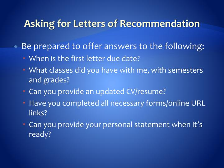Asking for Letters of Recommendation
