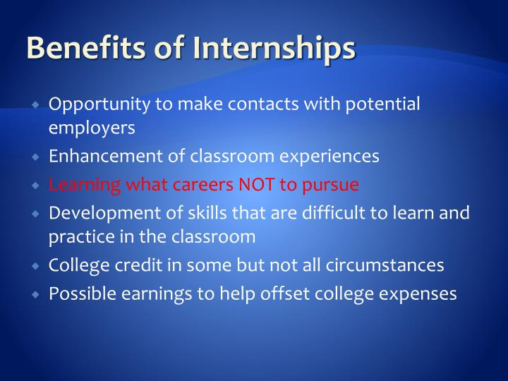 Benefits of Internships
