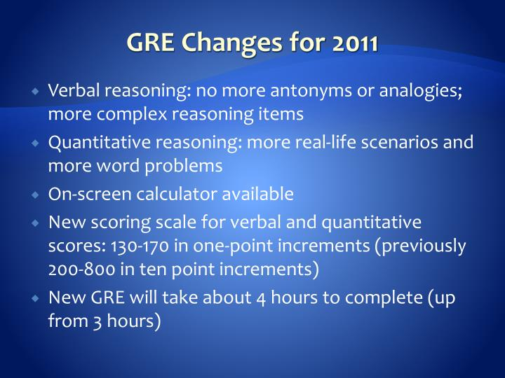 GRE Changes for 2011