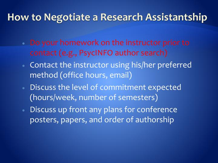 How to Negotiate a Research Assistantship