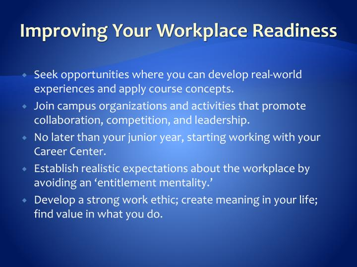 Improving Your Workplace Readiness