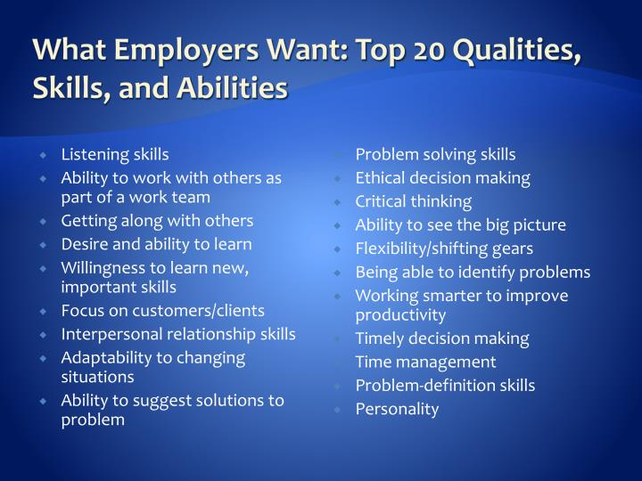 What Employers Want: Top 20 Qualities, Skills, and Abilities