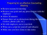 preparing for an effective counseling meeting