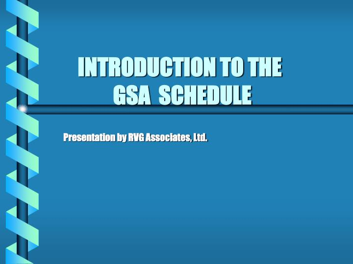 introduction to the gsa schedule n.