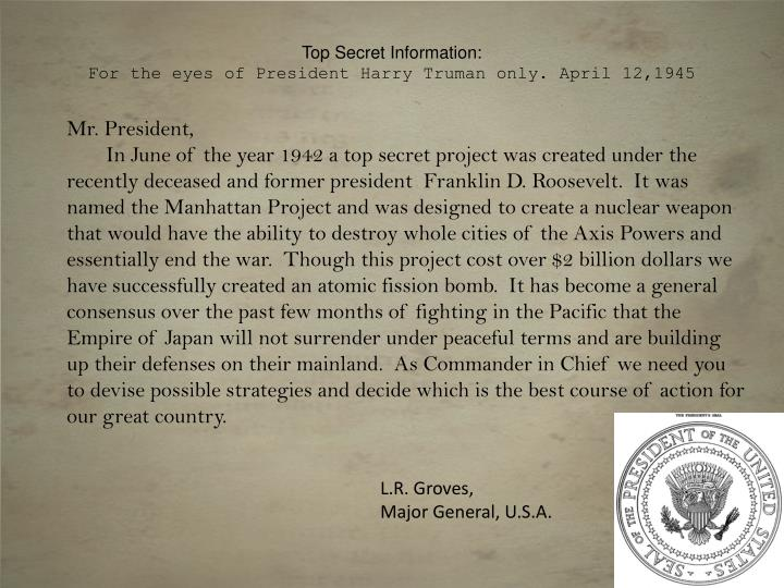 top secret information f or the eyes of president harry truman only april 12 1945 n.
