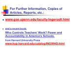 for further information copies of articles reports etc