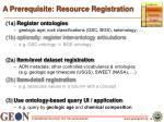 a prerequisite resource registration