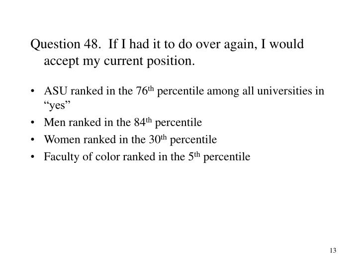 Question 48.  If I had it to do over again, I would accept my current position.
