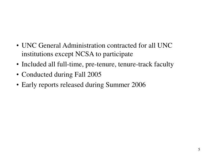 UNC General Administration contracted for all UNC institutions except NCSA to participate