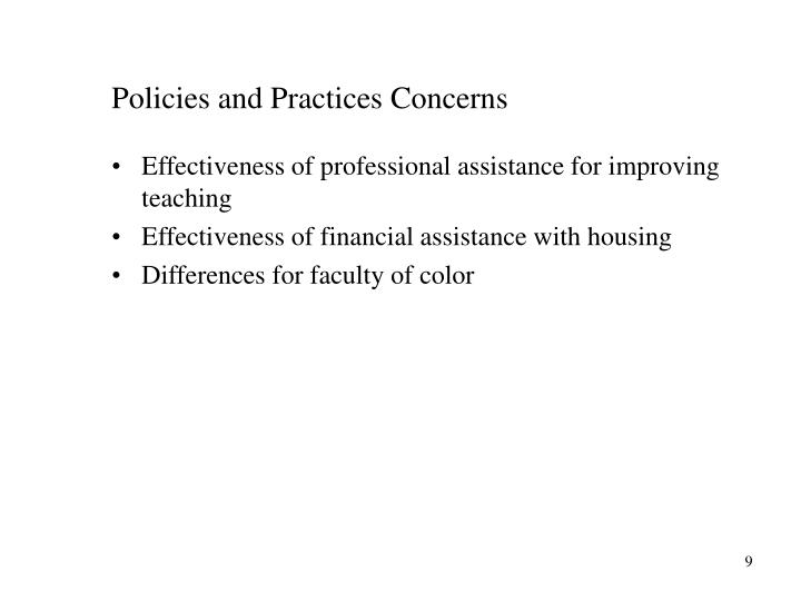 Policies and Practices Concerns
