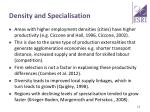 density and specialisation