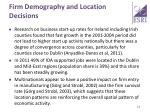 firm demography and location decisions