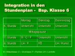 integration in den stundenplan bsp klasse 6