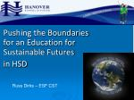 pushing the boundaries for an education for sustainable futures in hsd
