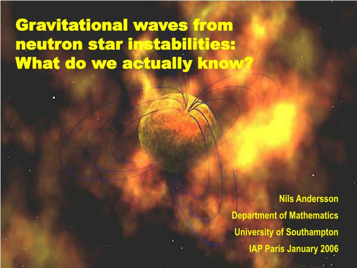 Gravitational waves from neutron star instabilities: