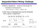sequential pattern mining challenge