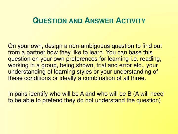 Question and Answer Activity