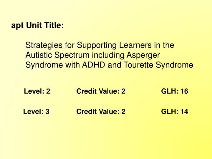 apt Unit Title: