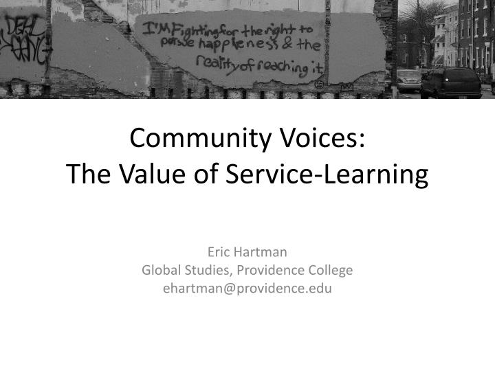 community voices the value of service learning n.