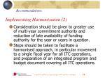 implementing harmonisation 2
