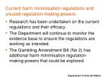 current harm minimisation regulations and unused regulation making powers