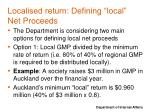 localised return defining local net proceeds