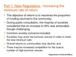part 1 new regulations increasing the minimum rate of return