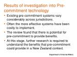 results of investigation into pre commitment technology