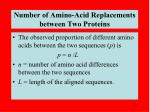 number of amino acid replacements between two proteins