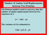 number of amino acid replacements between two proteins1