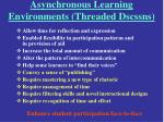asynchronous learning environments threaded dscssns