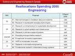 reallocations spending 2005 engineering