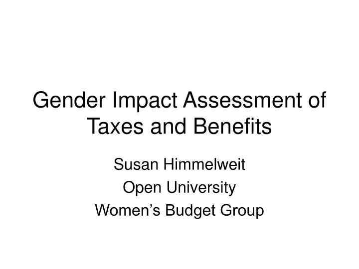 gender impact assessment of taxes and benefits n.