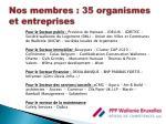 nos membres 35 organismes et entreprises