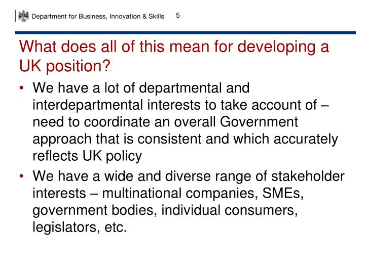 What does all of this mean for developing a UK position?