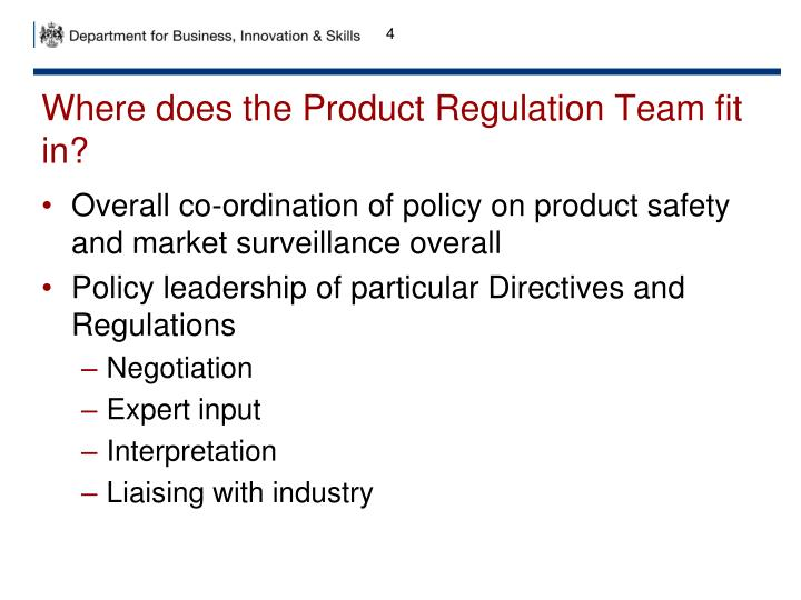 Where does the Product Regulation Team fit in?