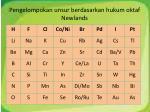 pengelompokan unsur berdasarkan hukum oktaf newlands