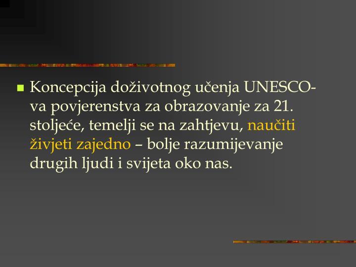 Koncepcija doživotnog učenja UNESCO-va povjerenstva za obrazovanje za 21. stoljeće, temelji se na zahtjevu,