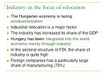 industry in the focus of relocation