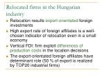 relocated firms in the hungarian industry