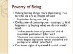 poverty of being
