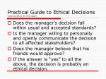 practical guide to ethical decisions values and ethics dr emily gacad