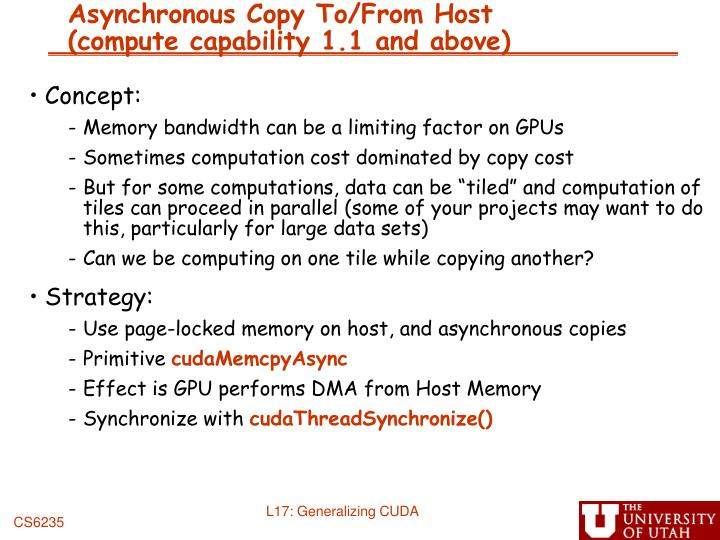Asynchronous Copy To/From Host