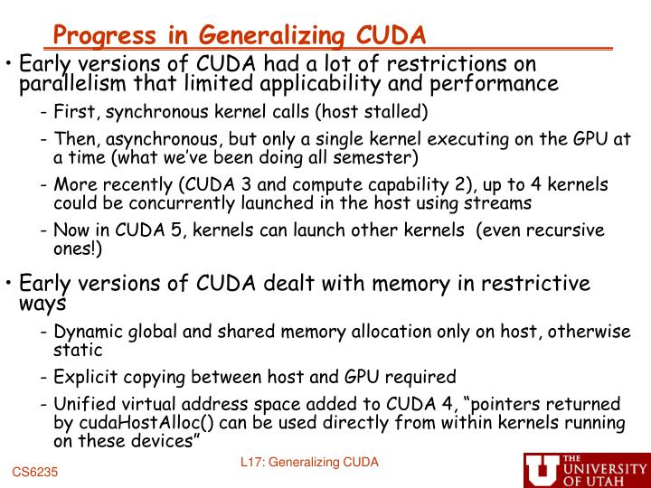 Progress in Generalizing CUDA