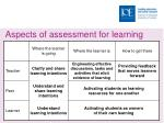 aspects of assessment for learning